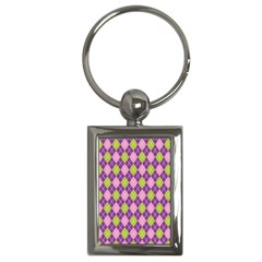 Plaid Triangle Line Wave Chevron Green Purple Grey Beauty Argyle Key Chains (rectangle)