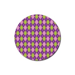 Plaid Triangle Line Wave Chevron Green Purple Grey Beauty Argyle Rubber Round Coaster (4 Pack)