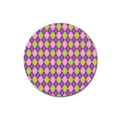Plaid Triangle Line Wave Chevron Green Purple Grey Beauty Argyle Magnet 3  (round)