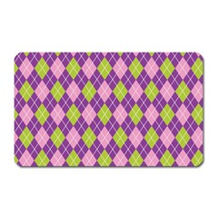 Plaid Triangle Line Wave Chevron Green Purple Grey Beauty Argyle Magnet (rectangular) by Alisyart