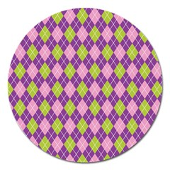 Plaid Triangle Line Wave Chevron Green Purple Grey Beauty Argyle Magnet 5  (round) by Alisyart