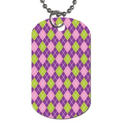 Plaid Triangle Line Wave Chevron Green Purple Grey Beauty Argyle Dog Tag (two Sides)