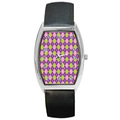 Plaid Triangle Line Wave Chevron Green Purple Grey Beauty Argyle Barrel Style Metal Watch