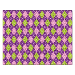 Plaid Triangle Line Wave Chevron Green Purple Grey Beauty Argyle Rectangular Jigsaw Puzzl by Alisyart