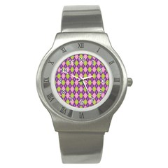 Plaid Triangle Line Wave Chevron Green Purple Grey Beauty Argyle Stainless Steel Watch