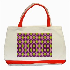 Plaid Triangle Line Wave Chevron Green Purple Grey Beauty Argyle Classic Tote Bag (red)