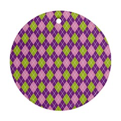 Plaid Triangle Line Wave Chevron Green Purple Grey Beauty Argyle Round Ornament (two Sides)