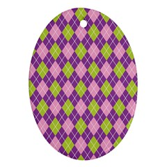 Plaid Triangle Line Wave Chevron Green Purple Grey Beauty Argyle Oval Ornament (two Sides)