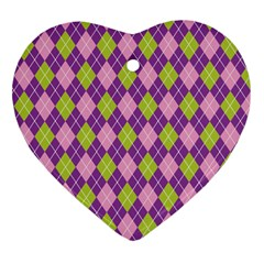Plaid Triangle Line Wave Chevron Green Purple Grey Beauty Argyle Heart Ornament (two Sides) by Alisyart