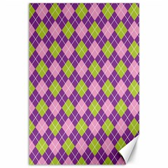 Plaid Triangle Line Wave Chevron Green Purple Grey Beauty Argyle Canvas 12  X 18