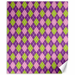 Plaid Triangle Line Wave Chevron Green Purple Grey Beauty Argyle Canvas 20  X 24