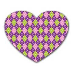 Plaid Triangle Line Wave Chevron Green Purple Grey Beauty Argyle Heart Mousepads by Alisyart