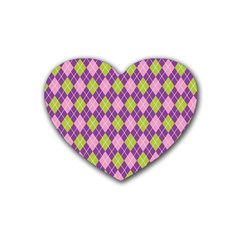 Plaid Triangle Line Wave Chevron Green Purple Grey Beauty Argyle Rubber Coaster (heart)  by Alisyart