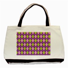 Plaid Triangle Line Wave Chevron Green Purple Grey Beauty Argyle Basic Tote Bag (two Sides)