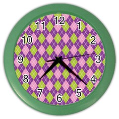 Plaid Triangle Line Wave Chevron Green Purple Grey Beauty Argyle Color Wall Clocks