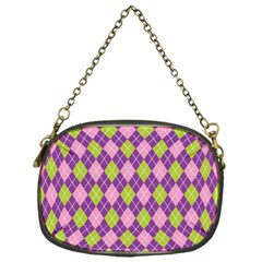 Plaid Triangle Line Wave Chevron Green Purple Grey Beauty Argyle Chain Purses (one Side)