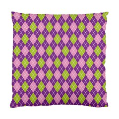Plaid Triangle Line Wave Chevron Green Purple Grey Beauty Argyle Standard Cushion Case (two Sides) by Alisyart
