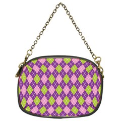 Plaid Triangle Line Wave Chevron Green Purple Grey Beauty Argyle Chain Purses (two Sides)