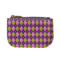 Plaid Triangle Line Wave Chevron Green Purple Grey Beauty Argyle Mini Coin Purses
