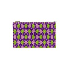 Plaid Triangle Line Wave Chevron Green Purple Grey Beauty Argyle Cosmetic Bag (small)  by Alisyart