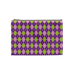 Plaid Triangle Line Wave Chevron Green Purple Grey Beauty Argyle Cosmetic Bag (medium)
