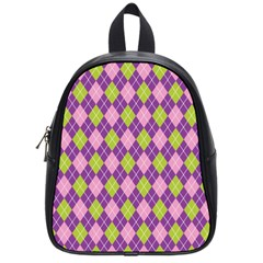 Plaid Triangle Line Wave Chevron Green Purple Grey Beauty Argyle School Bags (small)