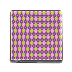Plaid Triangle Line Wave Chevron Green Purple Grey Beauty Argyle Memory Card Reader (square)