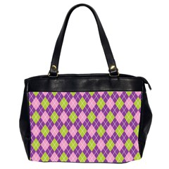 Plaid Triangle Line Wave Chevron Green Purple Grey Beauty Argyle Office Handbags (2 Sides)