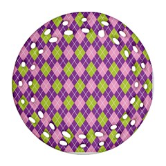 Plaid Triangle Line Wave Chevron Green Purple Grey Beauty Argyle Round Filigree Ornament (two Sides)