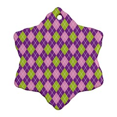 Plaid Triangle Line Wave Chevron Green Purple Grey Beauty Argyle Snowflake Ornament (two Sides) by Alisyart