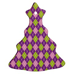 Plaid Triangle Line Wave Chevron Green Purple Grey Beauty Argyle Christmas Tree Ornament (two Sides)