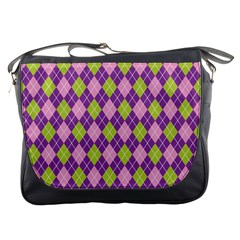 Plaid Triangle Line Wave Chevron Green Purple Grey Beauty Argyle Messenger Bags