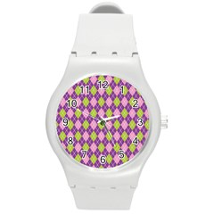 Plaid Triangle Line Wave Chevron Green Purple Grey Beauty Argyle Round Plastic Sport Watch (m)