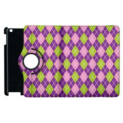 Plaid Triangle Line Wave Chevron Green Purple Grey Beauty Argyle Apple Ipad 2 Flip 360 Case