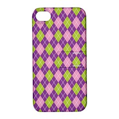 Plaid Triangle Line Wave Chevron Green Purple Grey Beauty Argyle Apple Iphone 4/4s Hardshell Case With Stand