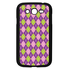 Plaid Triangle Line Wave Chevron Green Purple Grey Beauty Argyle Samsung Galaxy Grand Duos I9082 Case (black)
