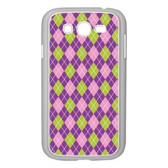 Plaid Triangle Line Wave Chevron Green Purple Grey Beauty Argyle Samsung Galaxy Grand Duos I9082 Case (white) by Alisyart