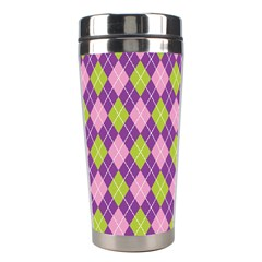 Plaid Triangle Line Wave Chevron Green Purple Grey Beauty Argyle Stainless Steel Travel Tumblers