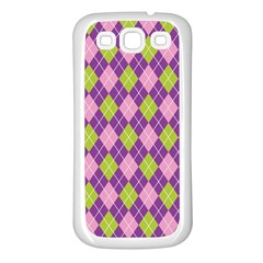 Plaid Triangle Line Wave Chevron Green Purple Grey Beauty Argyle Samsung Galaxy S3 Back Case (white)