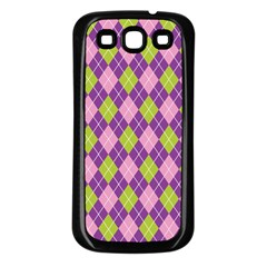 Plaid Triangle Line Wave Chevron Green Purple Grey Beauty Argyle Samsung Galaxy S3 Back Case (black)