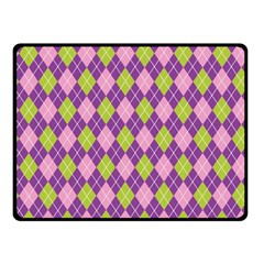 Plaid Triangle Line Wave Chevron Green Purple Grey Beauty Argyle Double Sided Fleece Blanket (small)