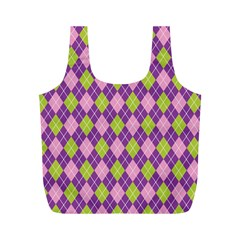 Plaid Triangle Line Wave Chevron Green Purple Grey Beauty Argyle Full Print Recycle Bags (m)