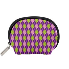 Plaid Triangle Line Wave Chevron Green Purple Grey Beauty Argyle Accessory Pouches (small)  by Alisyart