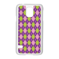 Plaid Triangle Line Wave Chevron Green Purple Grey Beauty Argyle Samsung Galaxy S5 Case (white)