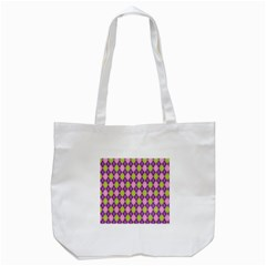 Plaid Triangle Line Wave Chevron Green Purple Grey Beauty Argyle Tote Bag (white) by Alisyart