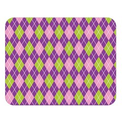 Plaid Triangle Line Wave Chevron Green Purple Grey Beauty Argyle Double Sided Flano Blanket (large)  by Alisyart
