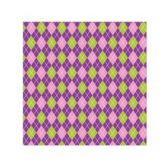 Plaid Triangle Line Wave Chevron Green Purple Grey Beauty Argyle Small Satin Scarf (square)