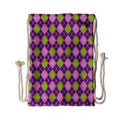 Plaid Triangle Line Wave Chevron Green Purple Grey Beauty Argyle Drawstring Bag (small) by Alisyart