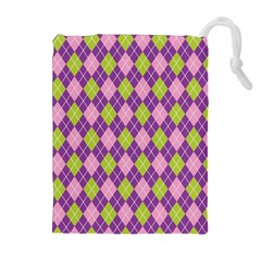 Plaid Triangle Line Wave Chevron Green Purple Grey Beauty Argyle Drawstring Pouches (extra Large)
