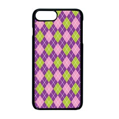Plaid Triangle Line Wave Chevron Green Purple Grey Beauty Argyle Apple Iphone 7 Plus Seamless Case (black)